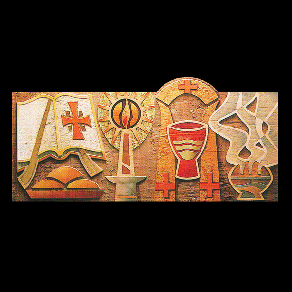 Holy Ordersordination Symbol Plaque In Linden Wood 36 X 17 X 2