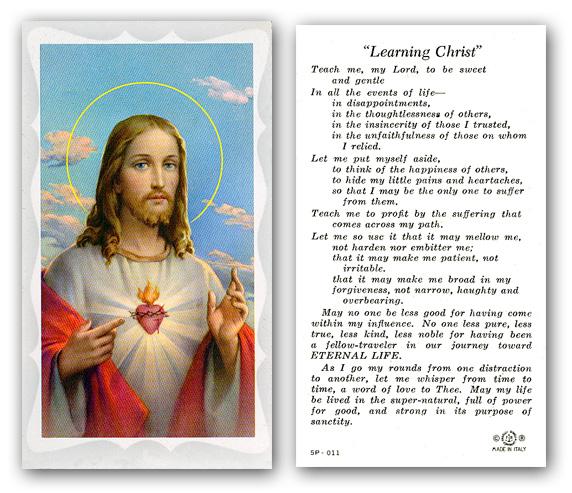 Learning Christ Sacred Heart Prayer Holy Card Paper 100
