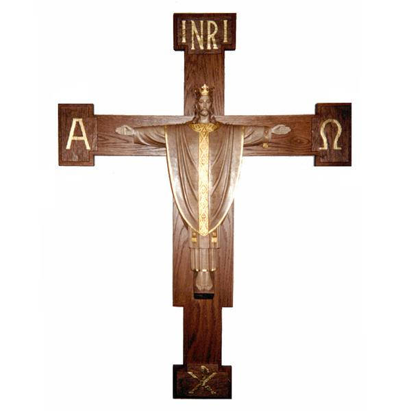 Christ The King Christus Rex Crucifix 3 4 Relief In Linden Wood 48 Cross