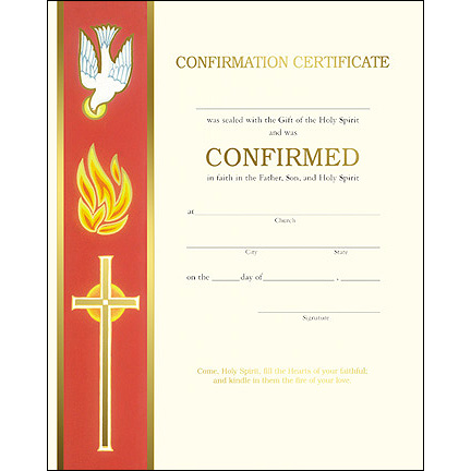 free catholic confirmation certificate template - confirmation certificate bookmark holy card sponsor