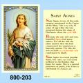 St. Agnes Holy Card: Laminated-25
