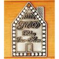 "House Shaped ""Bless Our Home"" Door Plaque (2 1/2"" x 4"")"